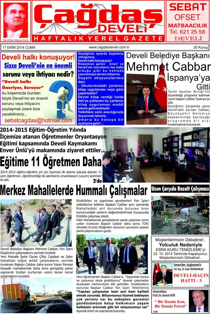 Çağdaş Develi Gazetesi 1. sayfa