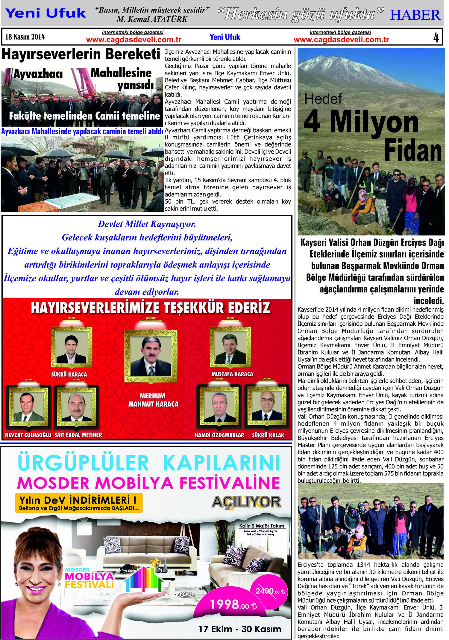 Yeni Ufuk Bölge Gazetesi 18 Kasım 2014 4. sayfa