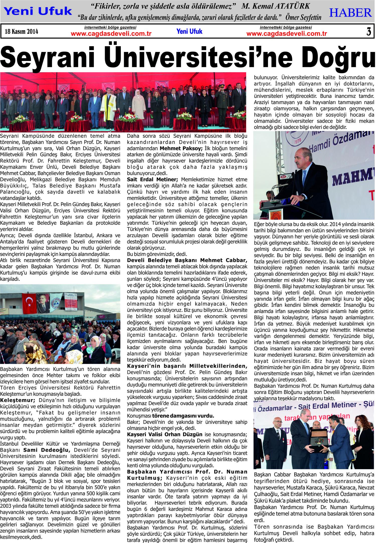 Yeni Ufuk Bölge Gazetesi 18 Kasım 2014 3. sayfa