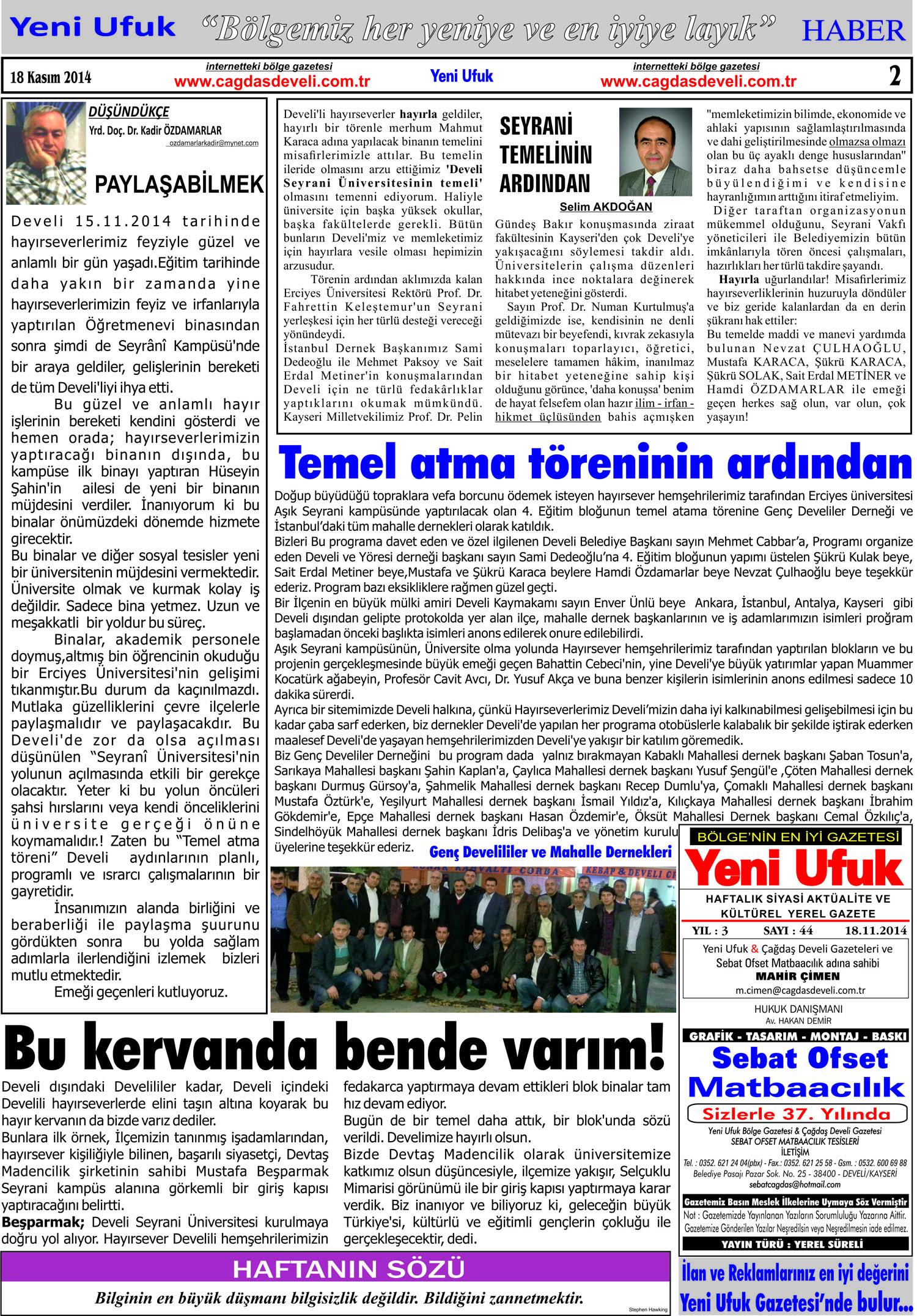 Yeni Ufuk Bölge Gazetesi 18 Kasım 2014 2. sayfa