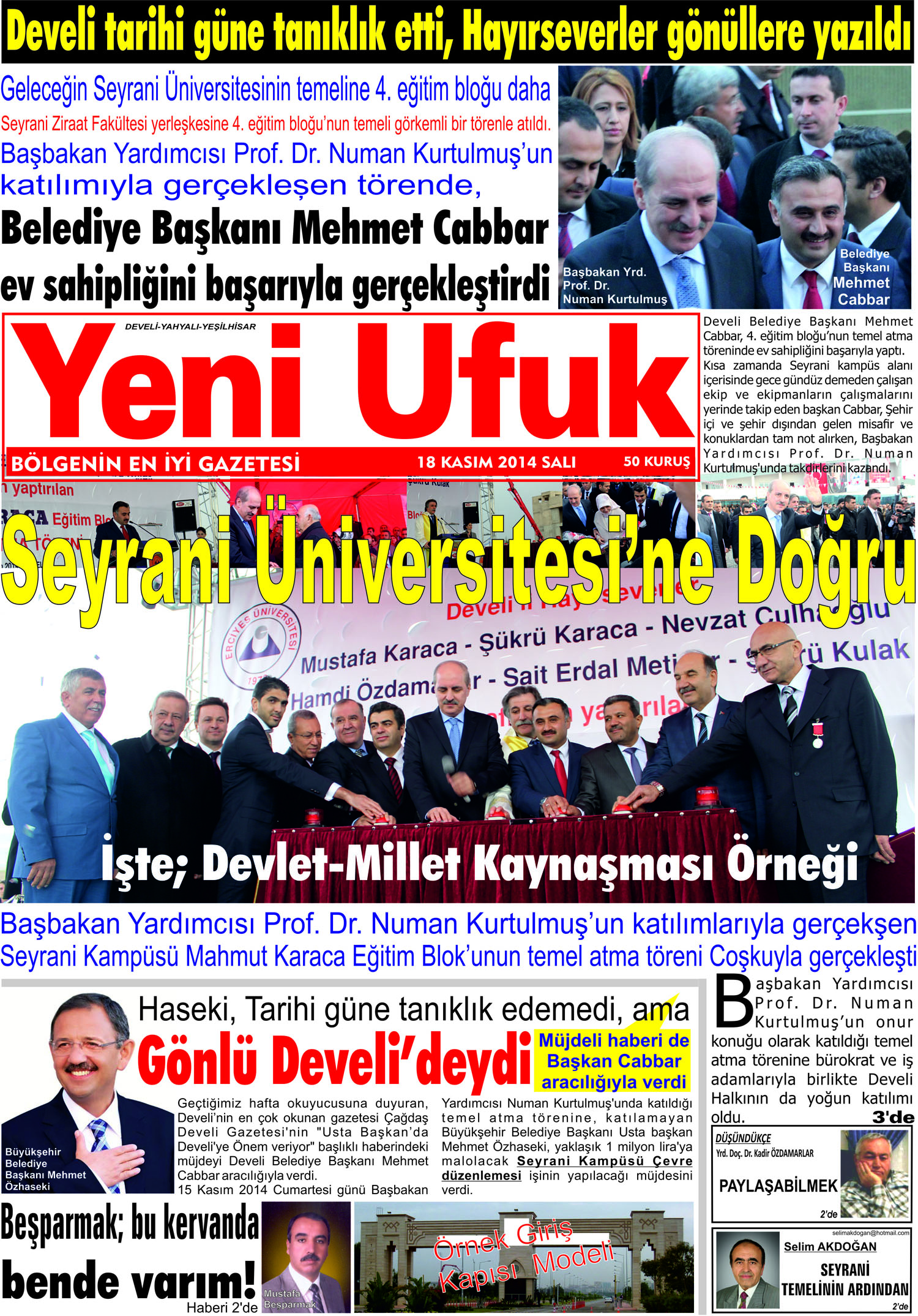 Yeni Ufuk Bölge Gazetesi 18 Kasım 2014 1. sayfa
