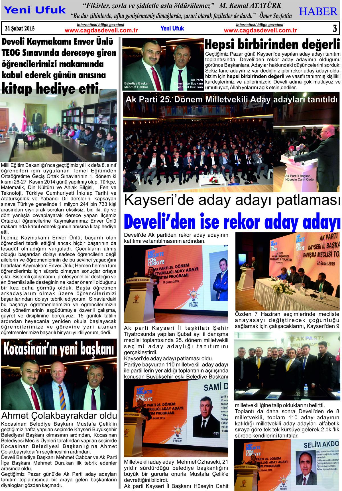 Yeni Ufuk Bölge Gazetesi, 24 Şubat 2015, Sayfa 3