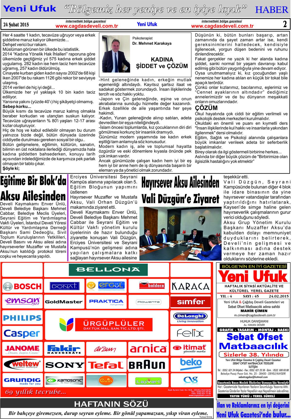 Yeni Ufuk Bölge Gazetesi, 24 Şubat 2015, Sayfa 2