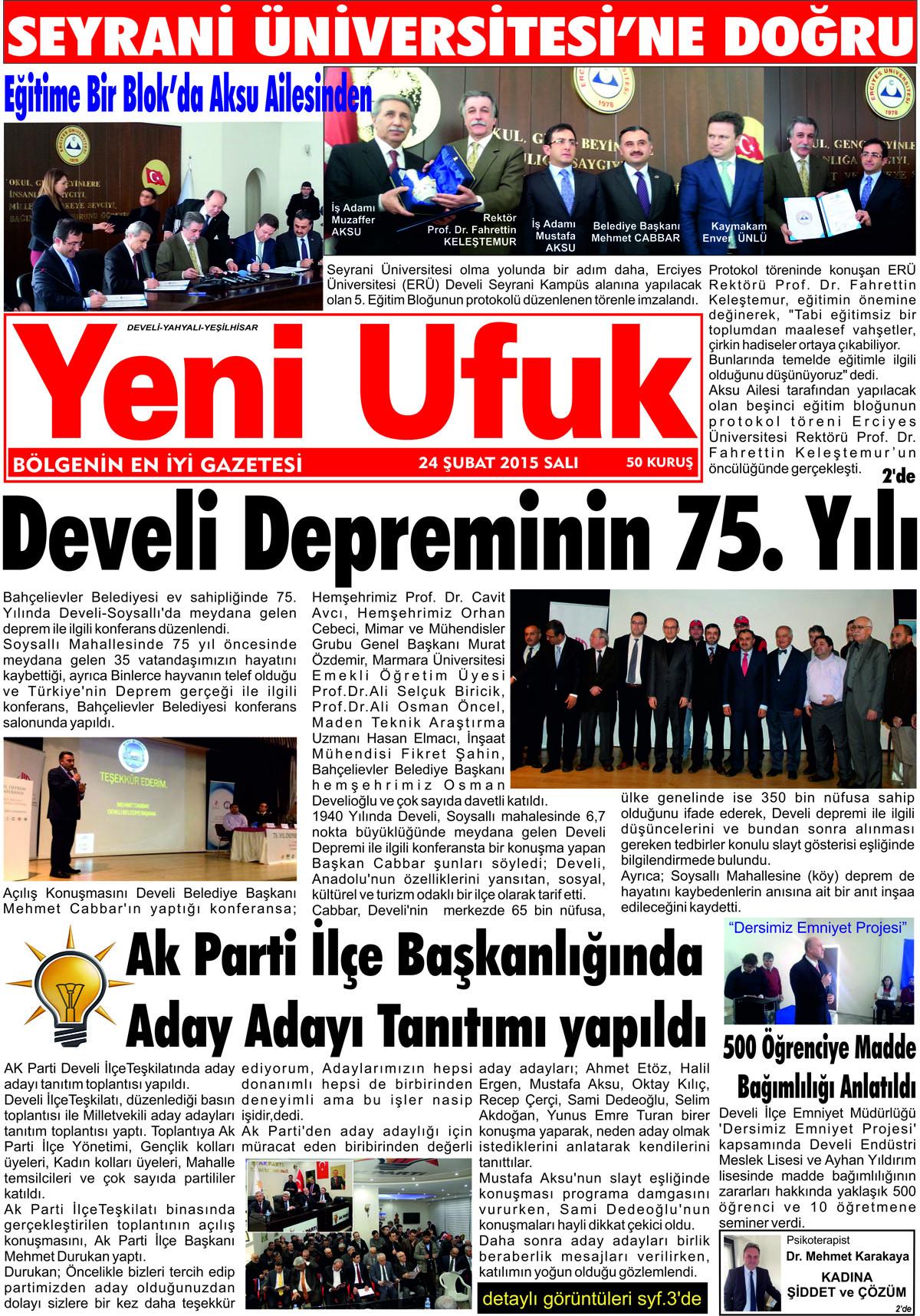Yeni Ufuk Bölge Gazetesi, 24 Şubat 2015, Sayfa 1
