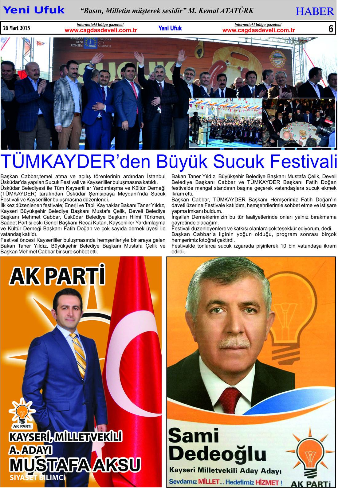 Yeni Ufuk Bölge Gazetesi, 26 Mart 2015, Sayfa 6