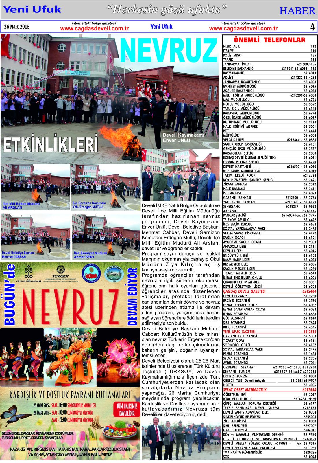 Yeni Ufuk Bölge Gazetesi, 26 Mart 2015, Sayfa 4