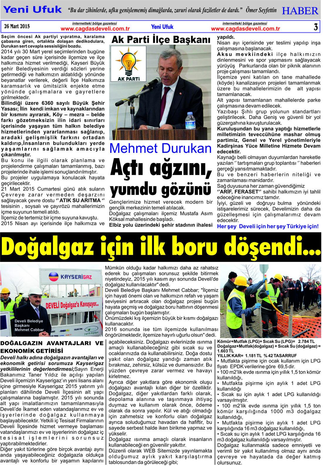 Yeni Ufuk Bölge Gazetesi, 26 Mart 2015, Sayfa 3
