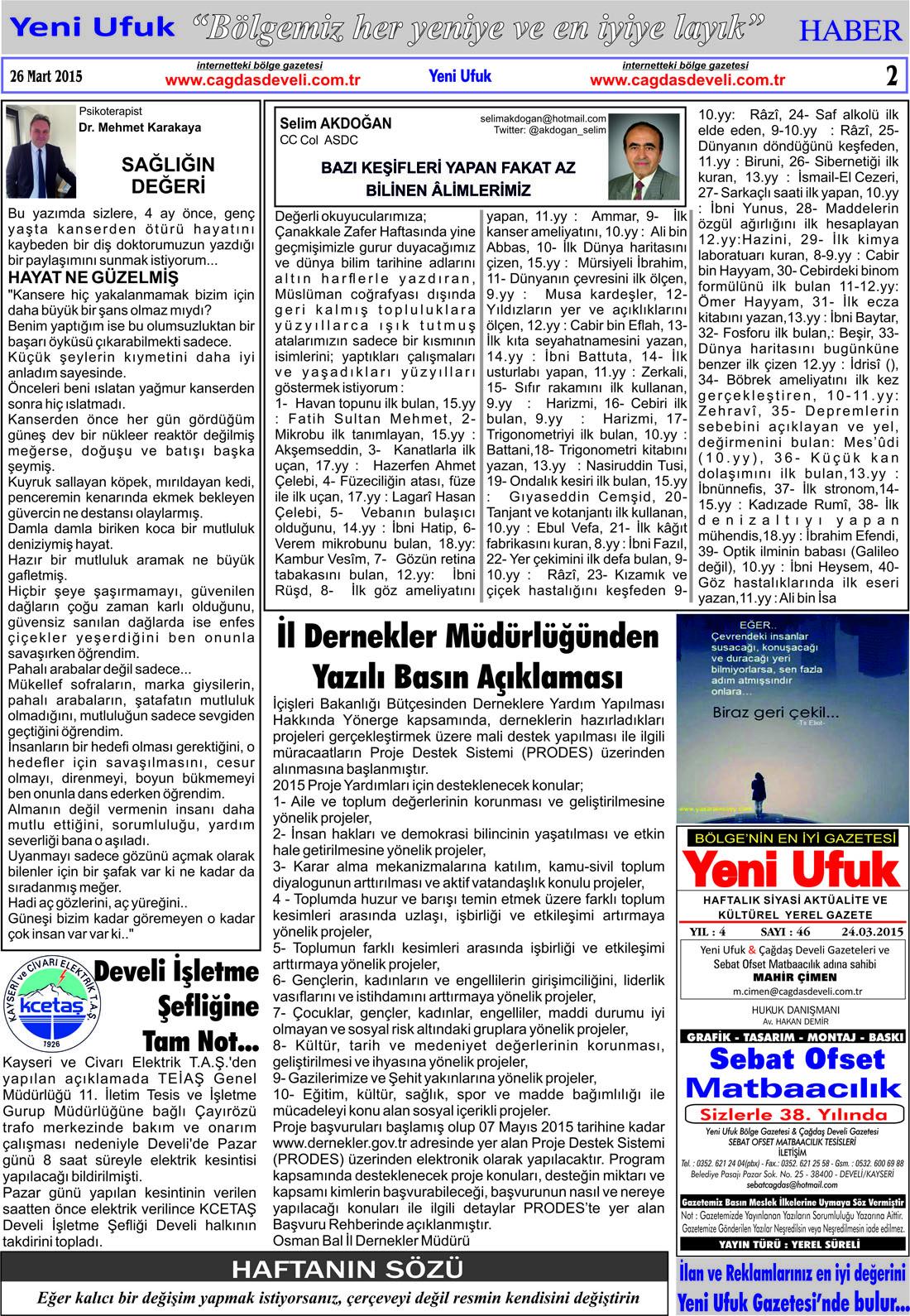 Yeni Ufuk Bölge Gazetesi, 26 Mart 2015, Sayfa 2