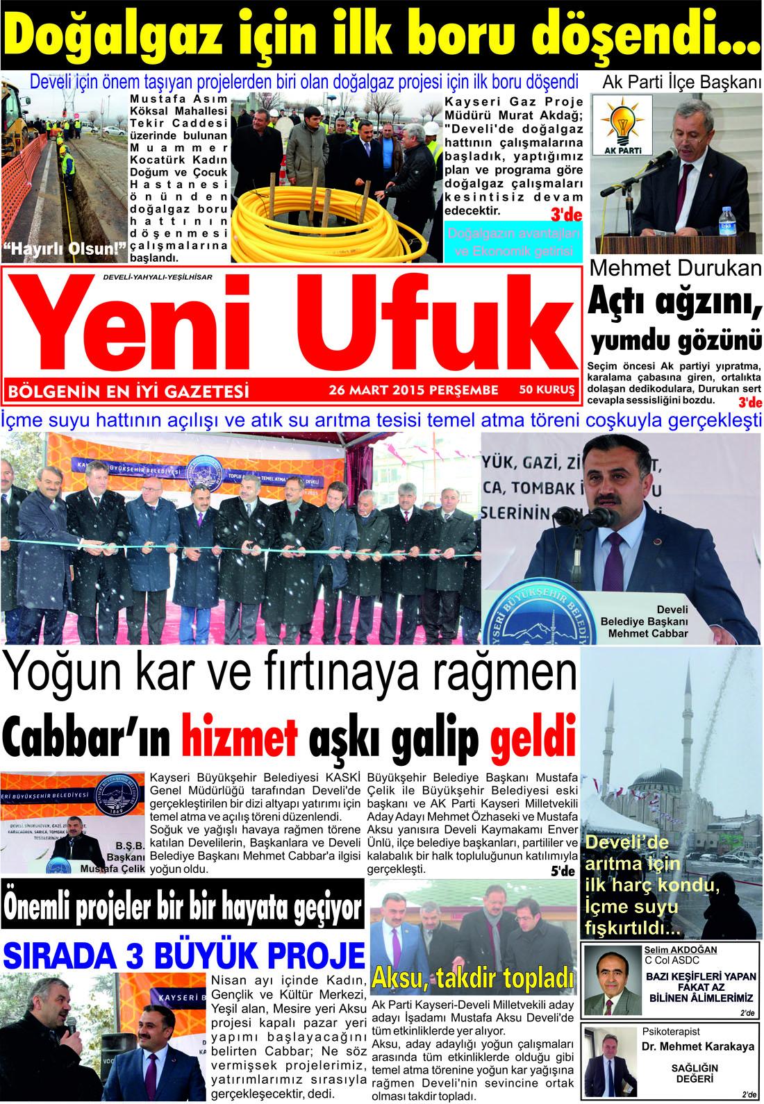 Yeni Ufuk Bölge Gazetesi, 26 Mart 2015, Sayfa 1