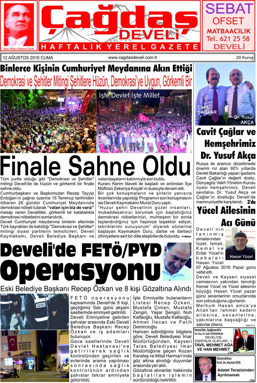 Çağdaş Develi Gazetesi, 12 Ağustos 2016, Sayfa 1