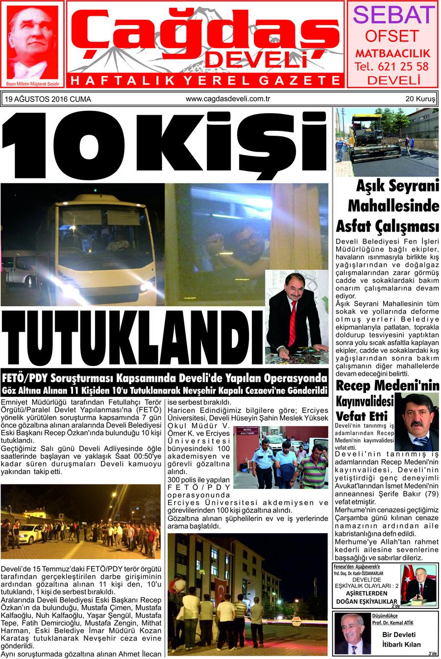 Çağdaş Develi Gazetesi, 19 Ağustos 2016, Sayfa 1