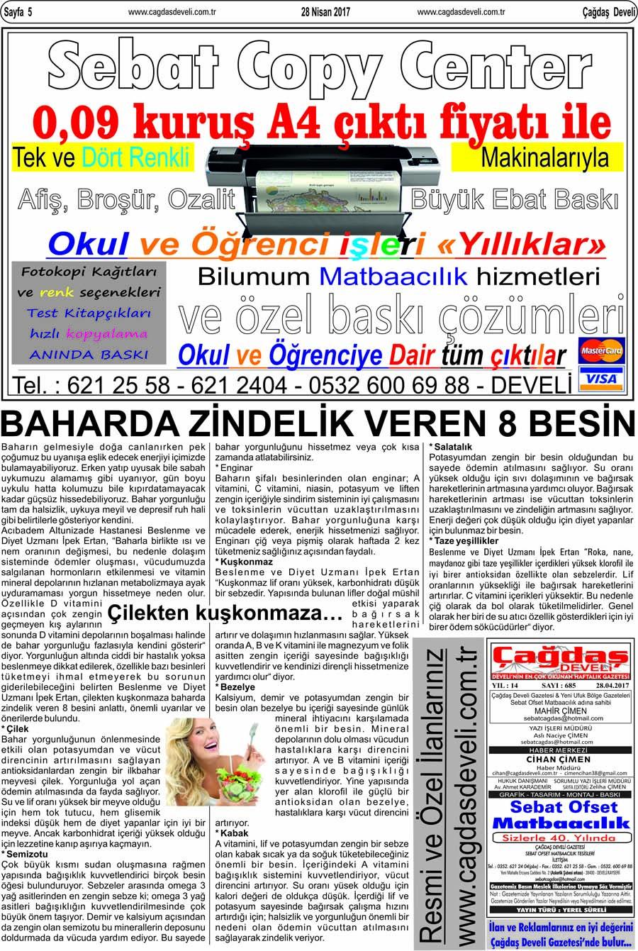 Çağdaş Develi Gazetesi, 28 Nisan 2017, Sayfa 5