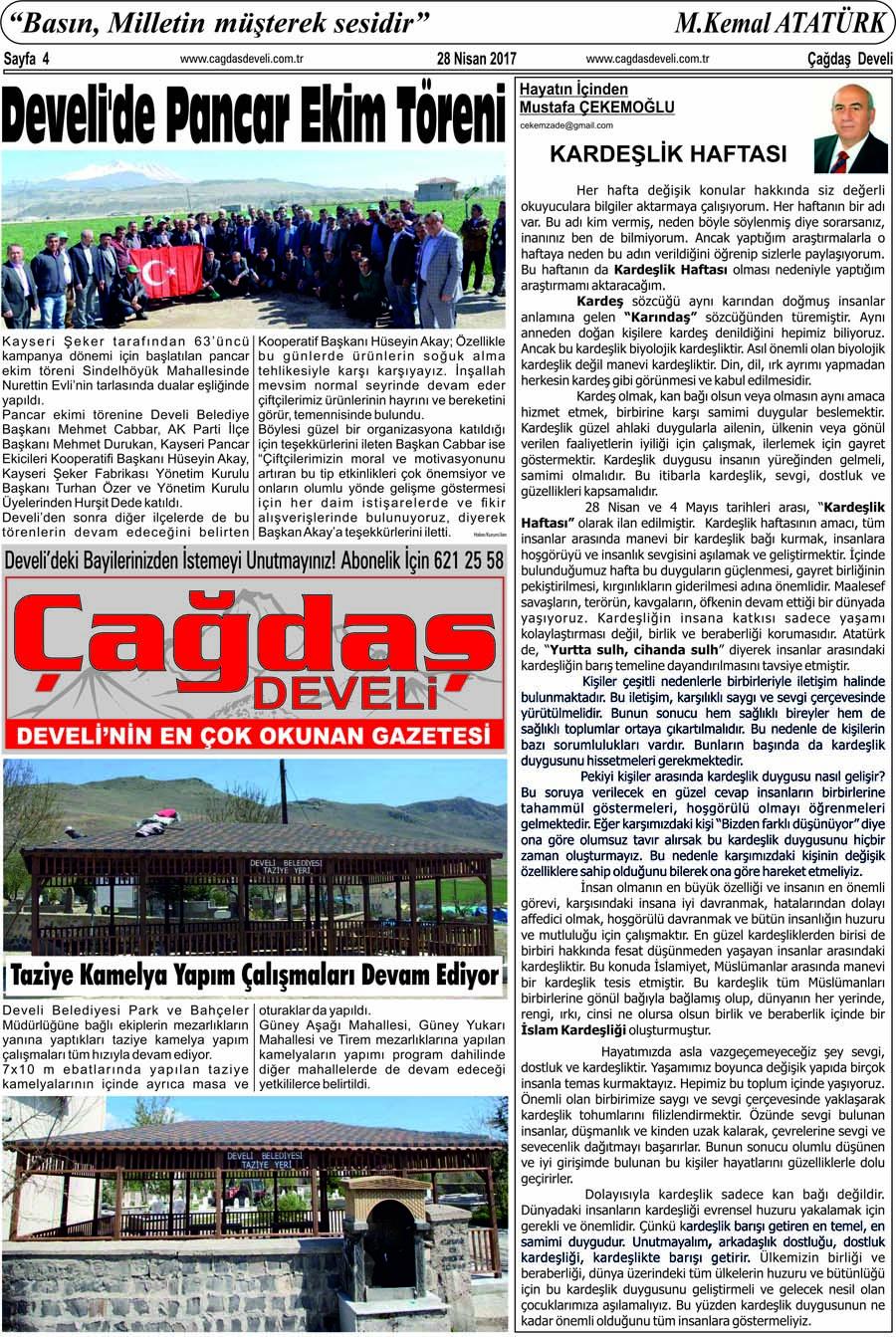 Çağdaş Develi Gazetesi, 28 Nisan 2017, Sayfa 4