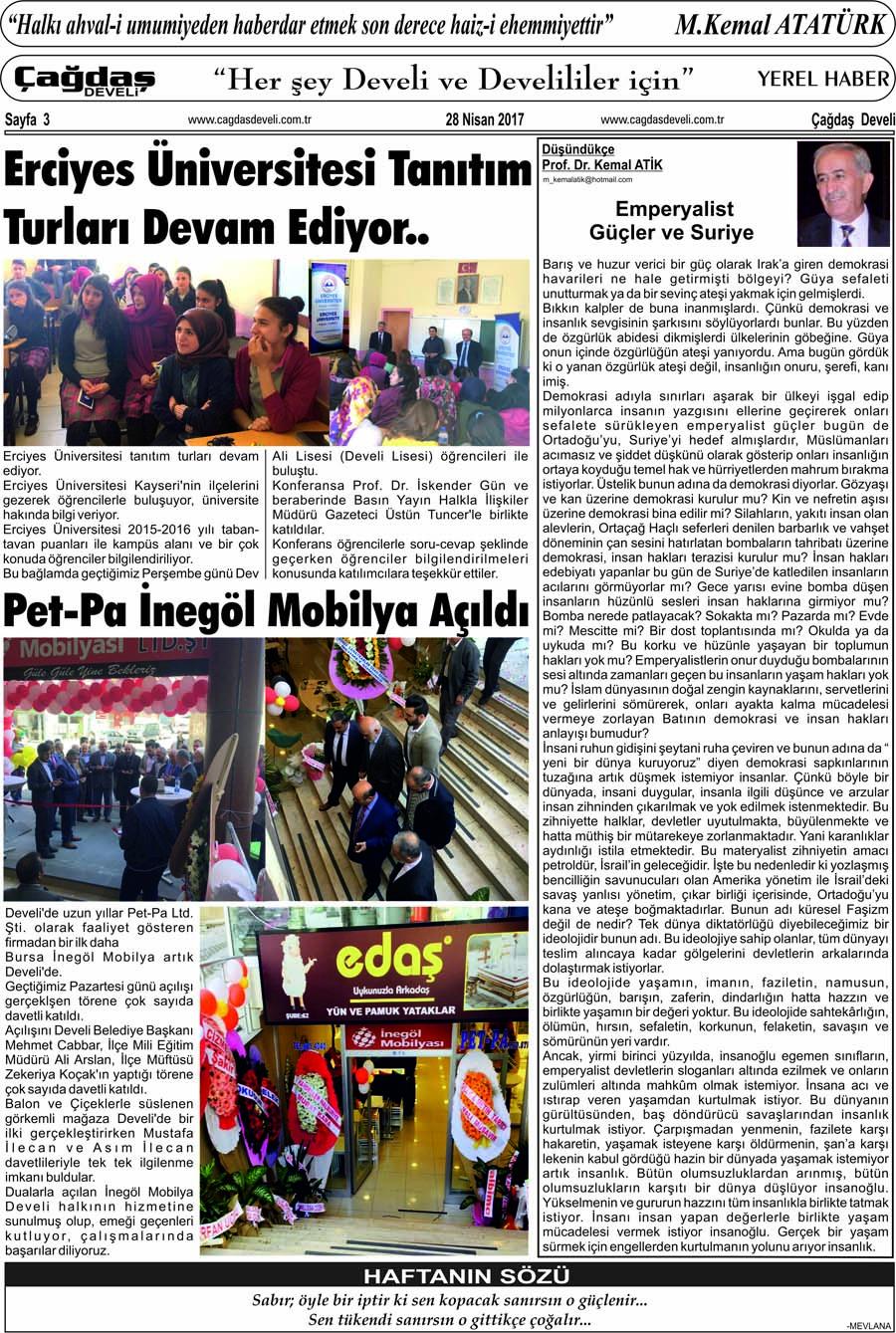 Çağdaş Develi Gazetesi, 28 Nisan 2017, Sayfa 3