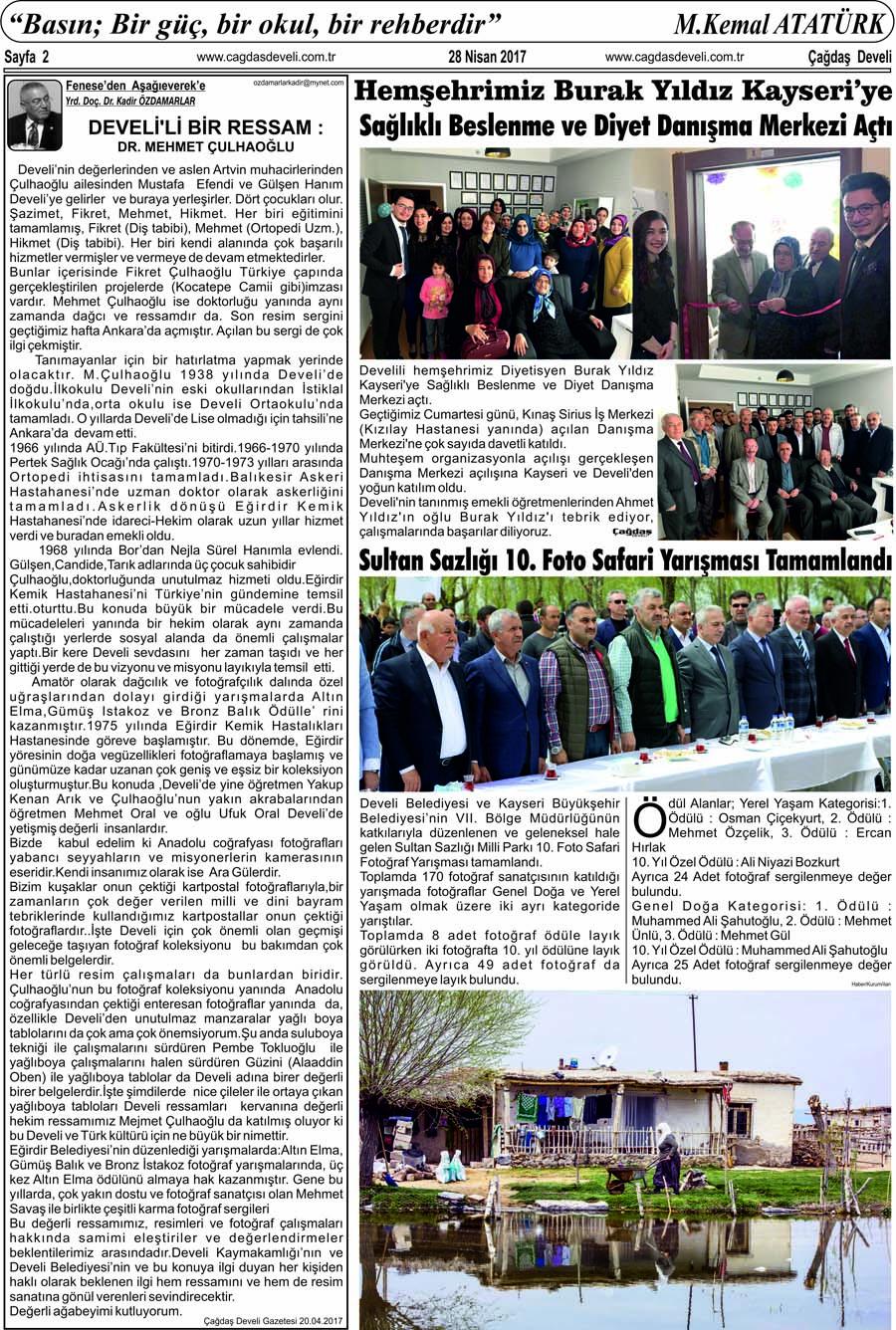 Çağdaş Develi Gazetesi, 28 Nisan 2017, Sayfa 2