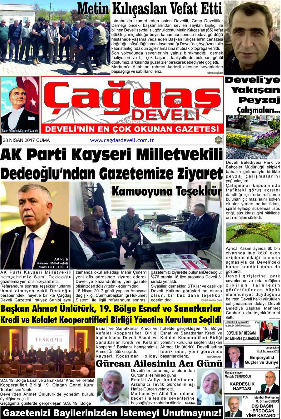 Çağdaş Develi Gazetesi, 28 Nisan 2017, Sayfa 1