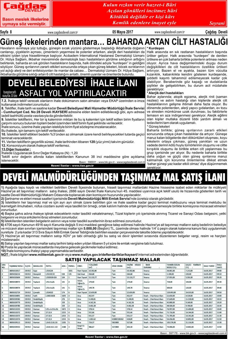 Çağdaş Develi Gazetesi, 05 Mayıs 2017, Sayfa 8
