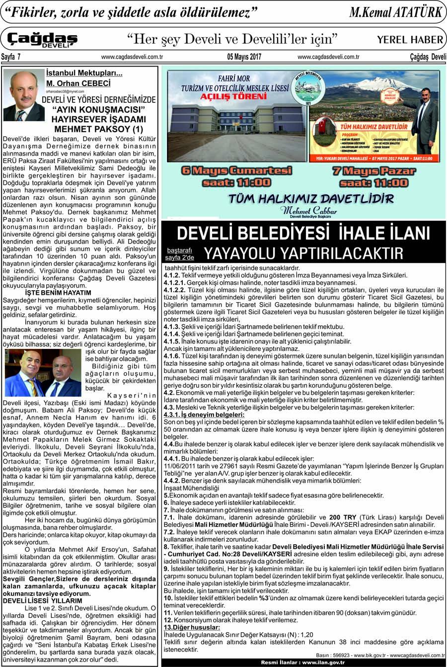 Çağdaş Develi Gazetesi, 05 Mayıs 2017, Sayfa 7