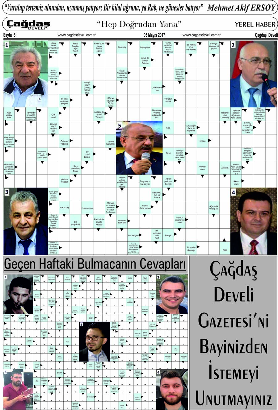 Çağdaş Develi Gazetesi, 05 Mayıs 2017, Sayfa 6