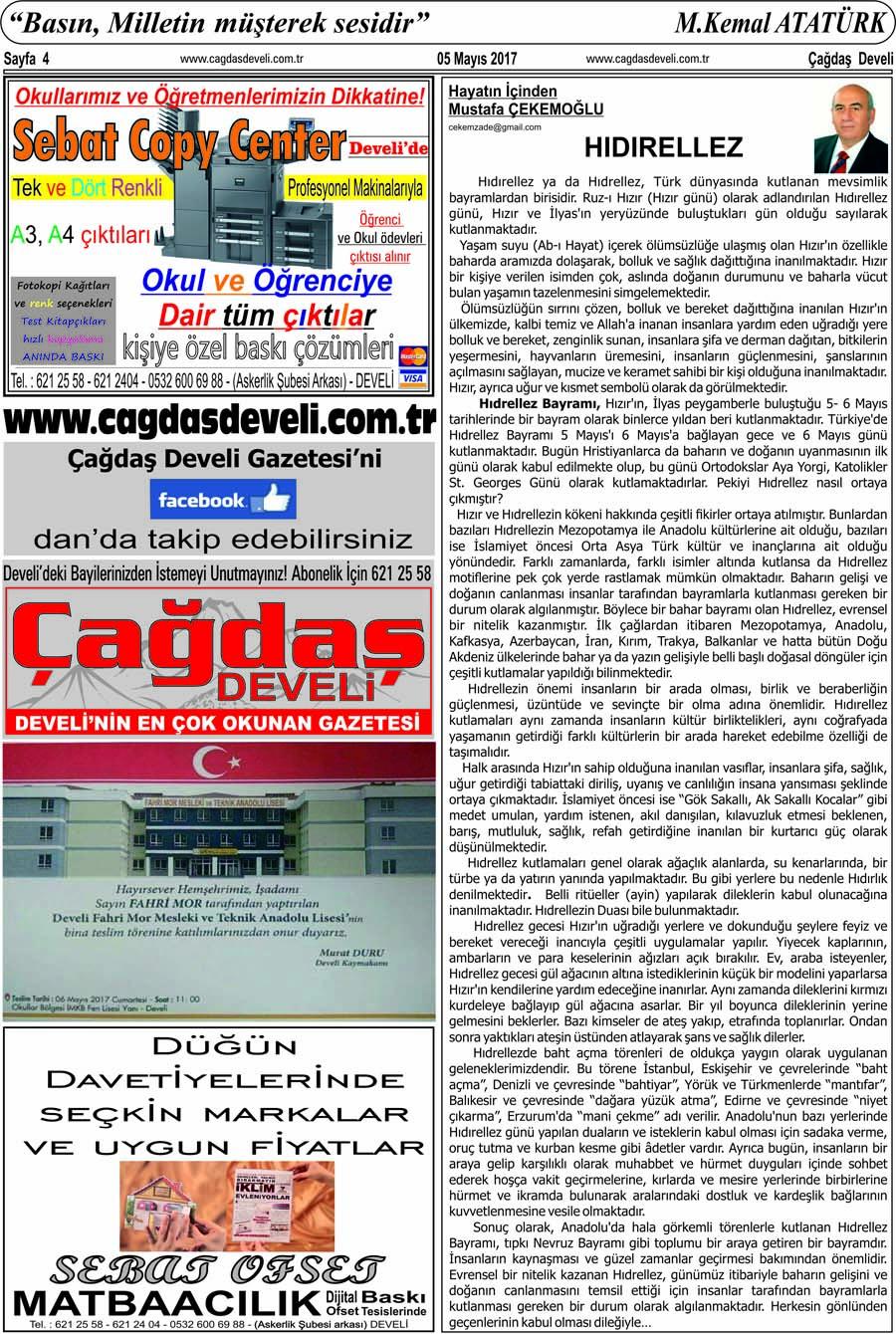 Çağdaş Develi Gazetesi, 05 Mayıs 2017, Sayfa 4
