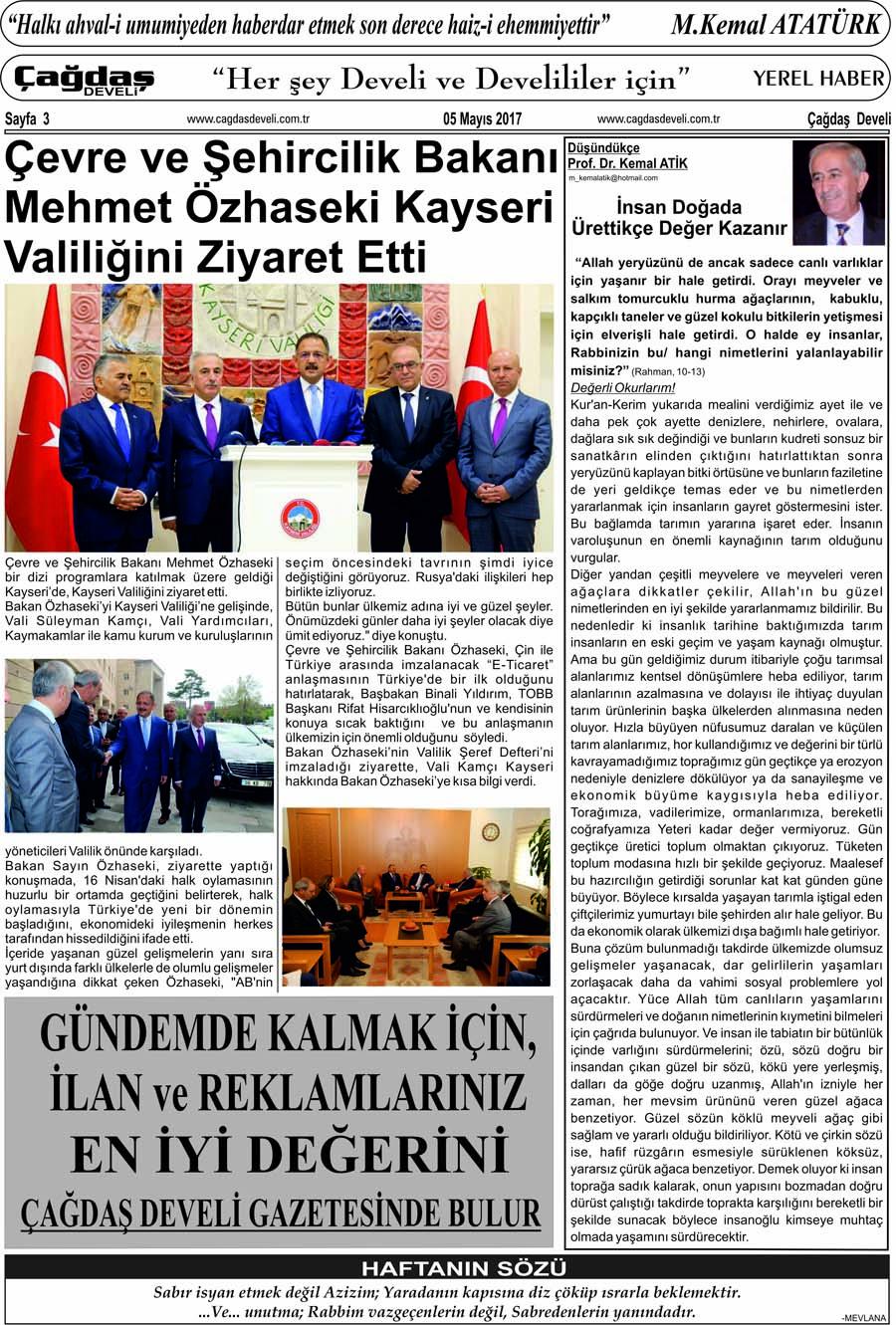 Çağdaş Develi Gazetesi, 05 Mayıs 2017, Sayfa 3