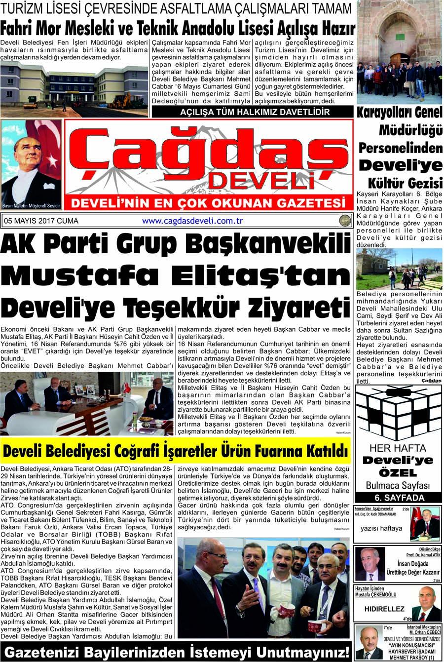 Çağdaş Develi Gazetesi, 05 Mayıs 2017, Sayfa 1