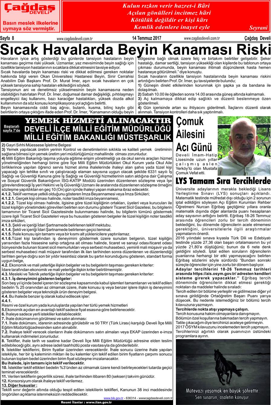 Çağdaş Develi Gazetesi, 14 Temmuz 2017, Sayfa 8