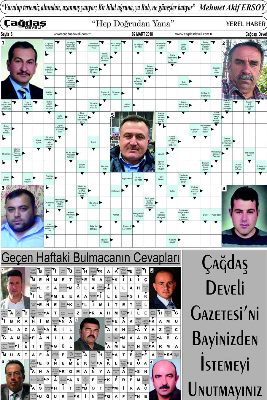 Çağdaş Develi Gazetesi, 02 Mart 2018, Sayfa 6