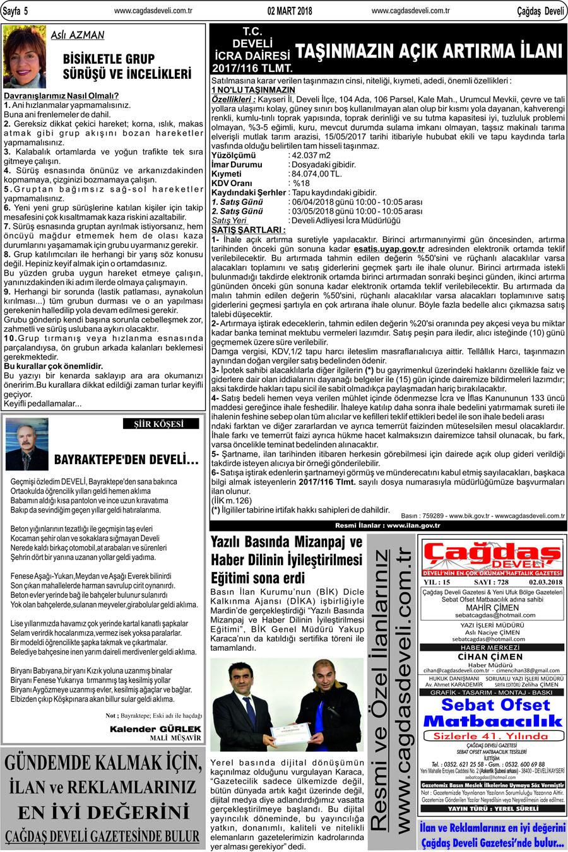 Çağdaş Develi Gazetesi, 02 Mart 2018, Sayfa 5