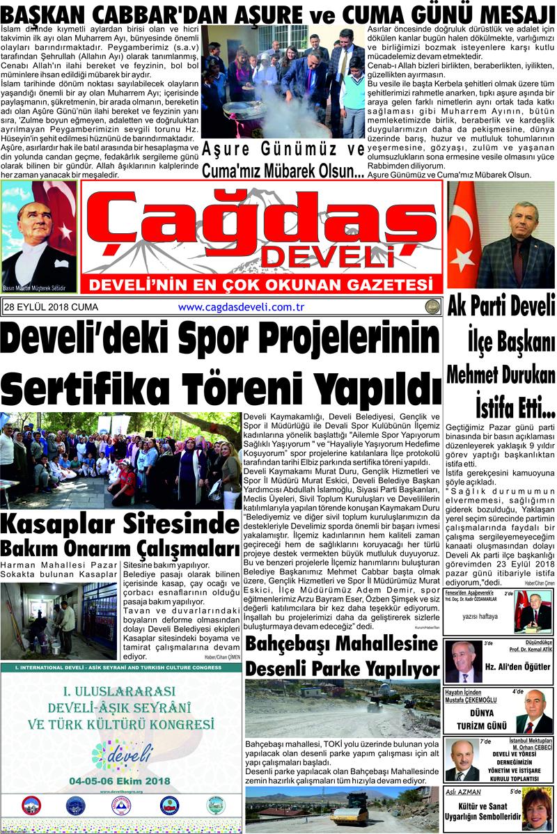 Çağdaş Develi Gazetesi, 28 Eylül 2018, Sayfa 1