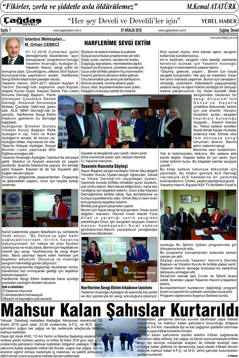 Çağdaş Develi Gazetesi, 07 Aralık 2018, Sayfa 7