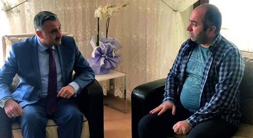 Cabbar Başkandan Belediye Personeli  Alper Gürlek'e Geçmiş Olsun Ziyareti