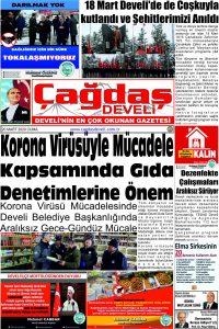 Çağdaş Develi Gazetesi, 20 Mart 2020, Sayfa 1
