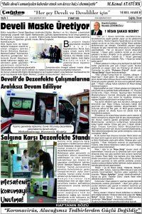Çağdaş Develi Gazetesi, 27 Mart 2020, Sayfa 3