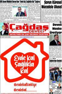 Çağdaş Develi Gazetesi, 27 Mart 2020, Sayfa 1