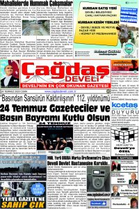 Çağdaş Develi Gazetesi, 24 Temmuz 2020, Sayfa 1