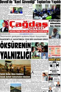 Çağdaş Develi Gazetesi,09 Ekim 2020, Sayfa 1