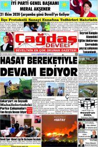 Çağdaş Develi Gazetesi, 16 Ekim 2020, Sayfa 1