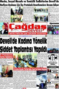 Çağdaş Develi Gazetesi, 27 Kasım 2020, Sayfa 1