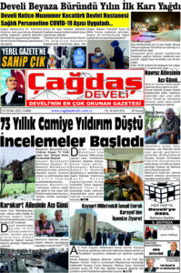 Çağdaş Develi Gazetesi, 15 Ocak 2021, Sayfa 1
