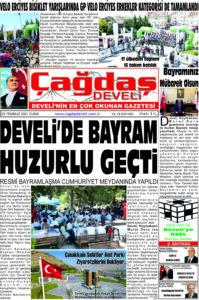 Çağdaş Develi Gazetesi, 23 Temmuz 2021, Sayfa 1